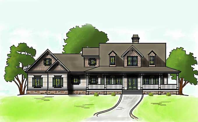 Low Country Farmhouse Plan With Wrap Around Porch More
