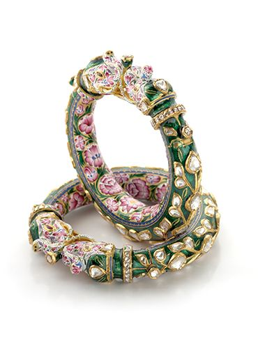 Pink and Green Enamel Bangle Pair of Elephant Design with Uncut Diamonds