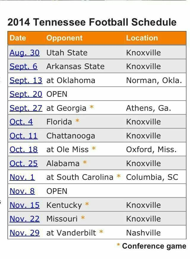 2014 UT #Vols football schedule   www.RollTideWarEagle.com  sports stories that inform and entertain, plus #collegefootball rules tutorial. Check out our blog and let us know what you think