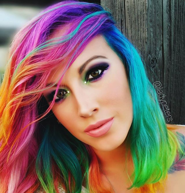"RAINBOW MERMAID HAIR REVEAL I call it ""Sunset over the Ocean"" Hair style/makeup/photo :: @ladypeters Hair colorist hand painter :: @brooke_illustrations Hair Color:: @arcticfoxhaircolor This all became a reality when my amazing artist friend Brooke Stefanelli (instagram @brooke_illustrations ) took my rainbow hair color dreams and brought them to life  CHECK OUT HER ART & FOLLOW HER TO WITNESS TRULY AMAZING TALENT  @brooke_illustrations"