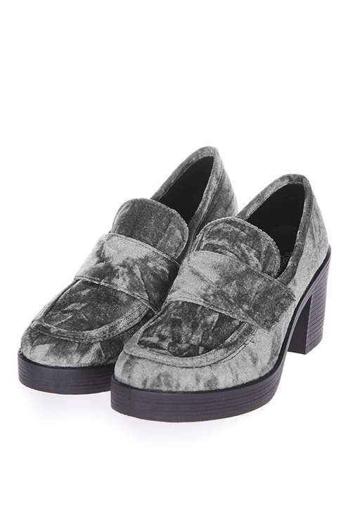 Give the loafer look a new lease of life in this cool chunky style in grey crushed velvet. In a mid-heel, these shoes are perfect for an everyday look. #Topshop
