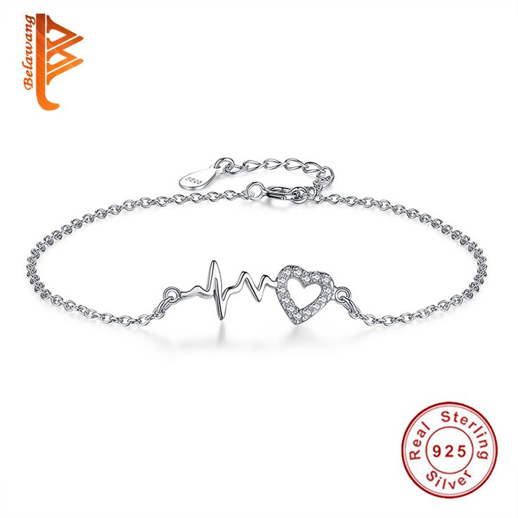 BELAWANG 925 Sterling Silver Heart Charms Bracelet with Link Chain Thumping Heartbeat Bead Bracelet for Women Bangle Jewelry