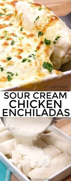 Sour Cream Chicken Enchiladas are rich, creamy and easy to make! Tender juicy chicken, onion and loads of cheese are wrapped in flour tortillas and smothered in a simple homemade sour cream sauce, topped with cheese and baked until brown and bubbly!