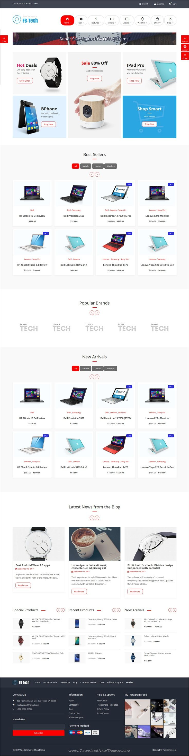 FB-Tech is clean and modern design responsive #WooCommerce #WordPress theme for #electronics shop #eCommerce website with 8 niche homepage layouts download now..