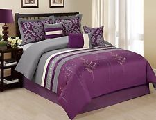 An awesome 7 Piece Dala Embroidered Tree Branch Print Purple/Grey Comforter Set Queen Size for only $59.99.