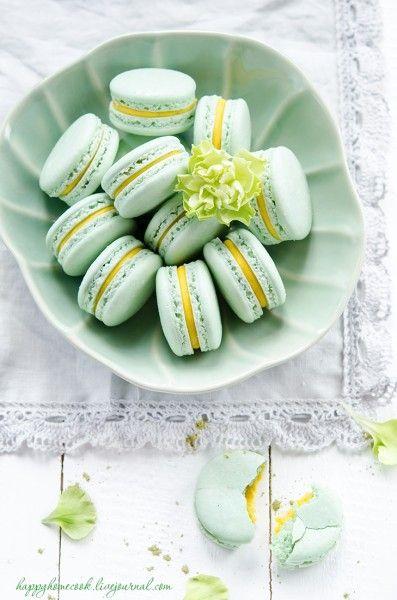 love to bake! - Макаронс с чаем матча и манго