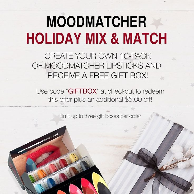 Take $5.00 off any 10 #Moodmatcher Lipsticks AND receive a #free gift box! Use code GIFTBOX at checkout to redeem this offer!  #moodmatcherlipstick #franwilson #franwilsoncosmetics #franwilsonbeauty #beauty #beautyproduct #beautysale #lipstick #lipsticklover #makeup #makeuplove #makeuplover #makeupsale