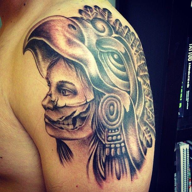Aztec Girl Skull Tattoo On Shoulder For Men | Tattooshunt.com