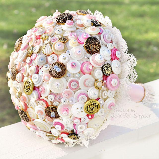 Bridal Button Bouquet - Vintage DIY Button Bouquet - Tips ...