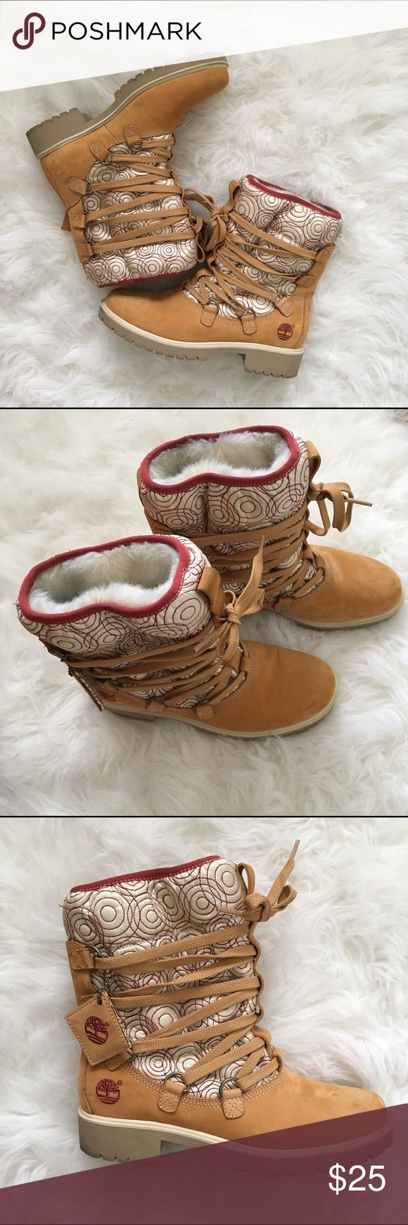 Timberland Boots‼️ Unique but fun Timberland boots. Fur on the inside with maroon circles against creme exterior. Gently used with blue denim stain on the inside of the boot. Boot indicates size 7.5M but runs small. I wear a 7 in Kids but that's cutting it close. I'd suggest at 6.5 in Kids. Timberland Shoes Boots