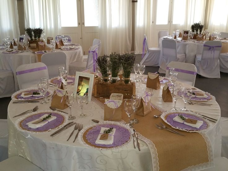 Burlap, lace & purple wedding decor at Oak House venue