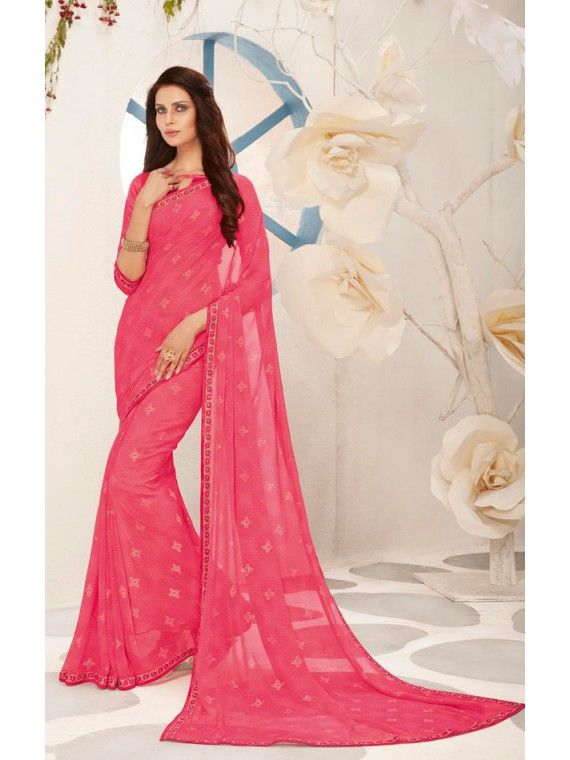 Remarkable Pink Party Wear Saree