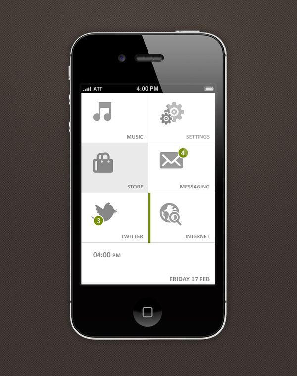 Phone UI Retina - Pure Touch by Ismail MESBAH, via Behance