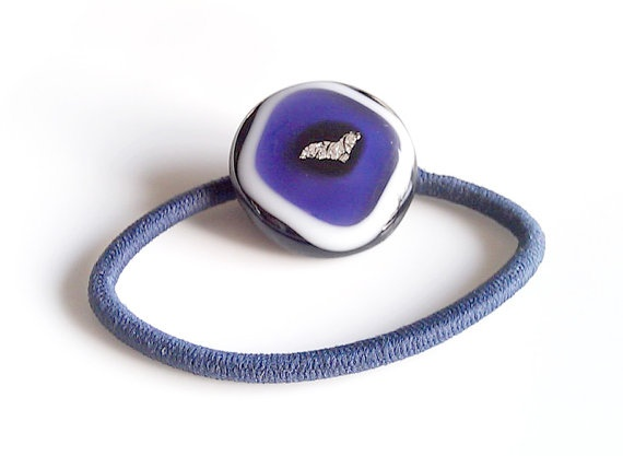 Purple Black White and Silver Ponytail Holder Fused Glass $10: Fused Glass