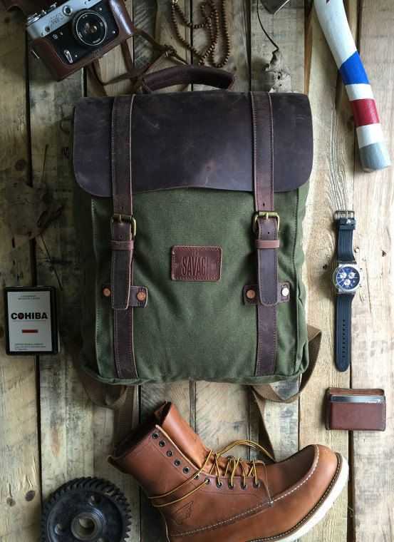 Army green canvas backpack/rucksack full grain leather copper rivets. Hipster rugged mens/womens UNISEX medium size bag