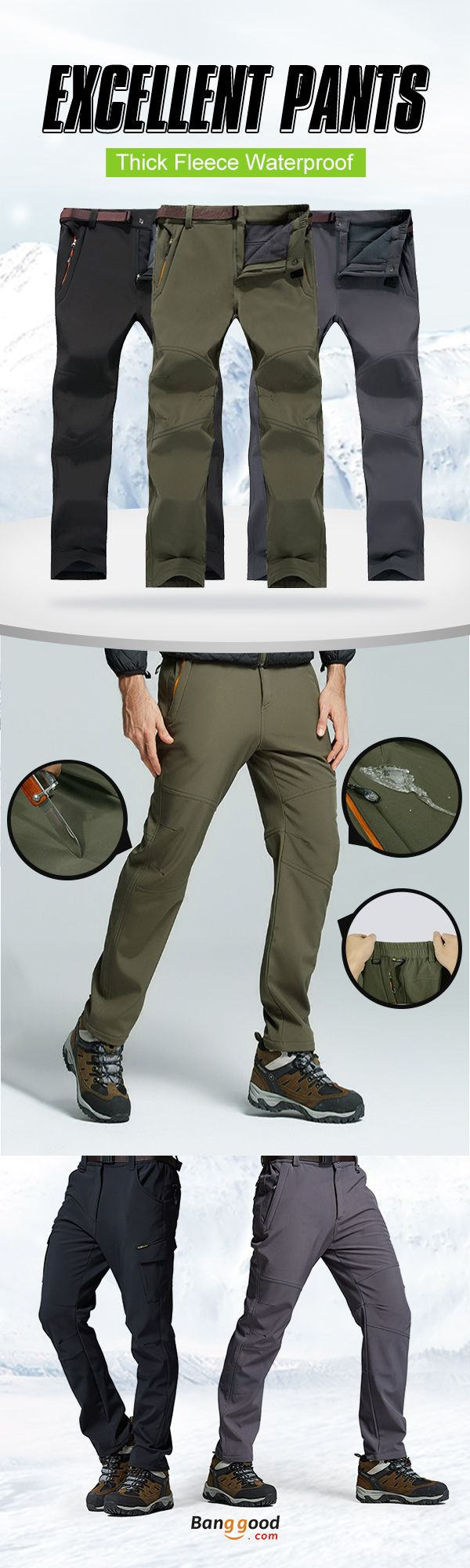 Thick & Waterproof. Size: S - 5XL. Outdoor Pants for Winter. 3 Colors Optional. US$34.69 + Free Shipping.