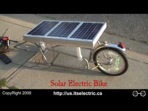 Solar bike - Cargo trailer has a 30 watt solar panel on top of it. #solarpoweredelectricbike #solarbike