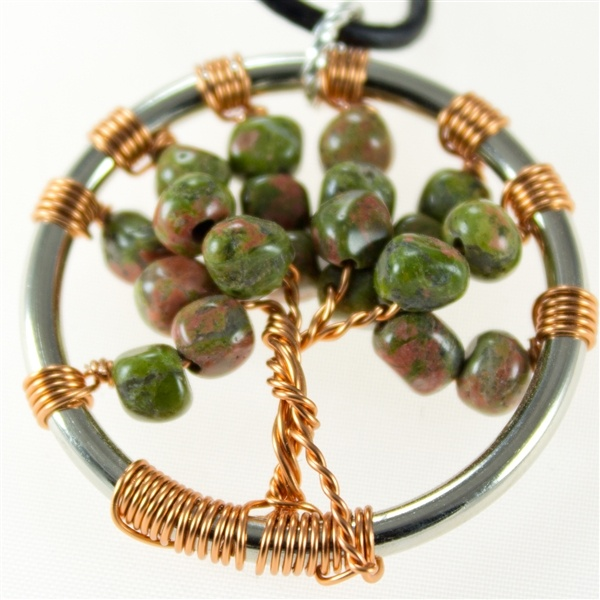 Unakite Tree of Life pendant with leather necklace  $35.00