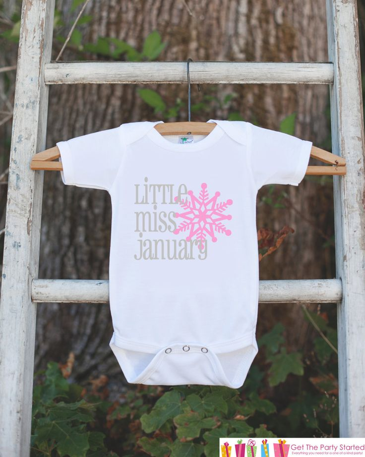 Little Miss January Onepiece Bodysuit - Take Home Outfit For Newborn Baby Girls - Pink Snowflake Infant Going Home Hospital Onepiece