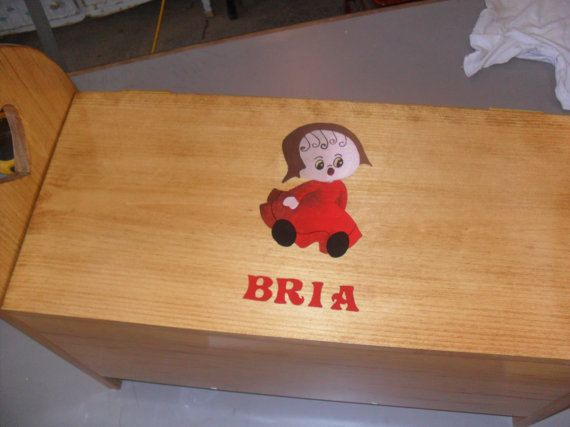 Toy box, acrylic painting of a girl, child's name, hand painted, wooden box, storage box, chest, handmade, pine, child's furniture, by WoodnThingsNY12534 on Etsy