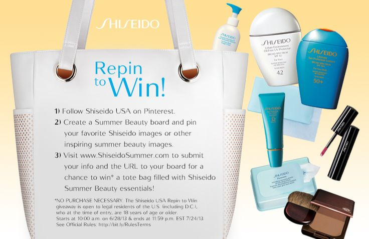 Follow us on Pinterest and create your own Summer Beauty Board for a chance to win a Shiseido Sun Tote. Happy pinning!