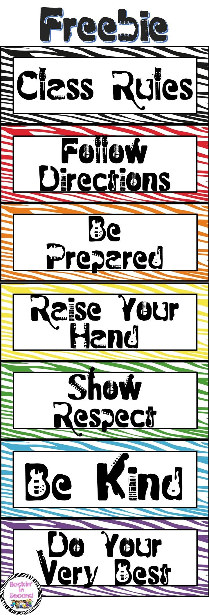 Rockstar Class Rules FREEBIE  Add this to your rockstar classroom. You can make a rule list, place them on your bulletin board in any arrangement you want! Enjoy this FREEBIE and follow me on TPT for more fun, exciting products and FREEBIES.  TPT gives credit for future purchases when you leave feedback. Thanks =)