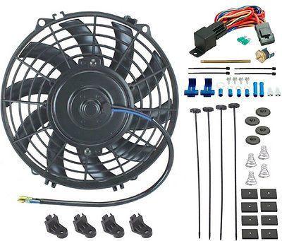 "9"" Inch Tornado Electric Cooling Fan Slim Black & Radiator Probe Thermostat Kit"