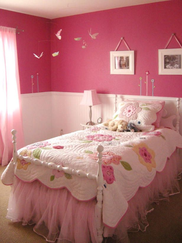 trendytoes pink girls room. LOOK, my bed is wearing a tutu! Pretty in Pink If you're thinking pink, think beyond pastel shades. Rate My Space user trendytoes chose a bright pink for this girl's bedroom and installed beadboard wainscoting to balance out the intensity of the color. A floral quilt and a pink tulle bed skirt finish off this ultra-girly space.