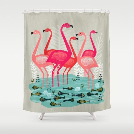 Flamingos by Andrea Lauren  Shower Curtain by Andrea Lauren Design - $68.00