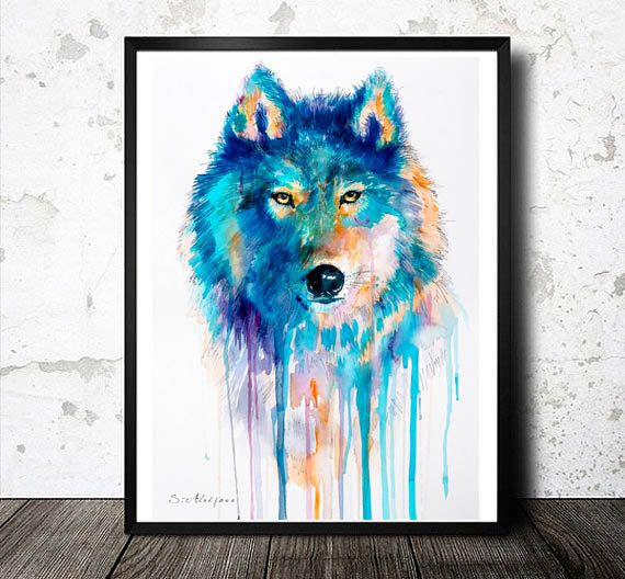 Wolf watercolor  painting print  blue, beautiful, dog, watercolor, art, Painting, Animals, Illustration by SlaviART