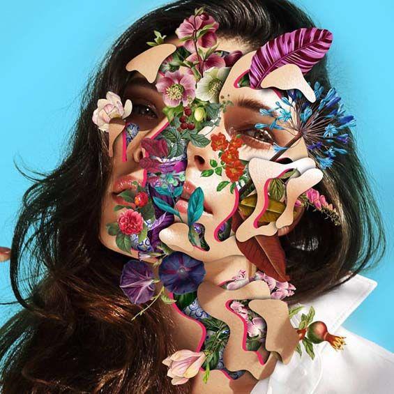 Les Collages colorés de Visages fleuris de Marcelo Monreal (9)