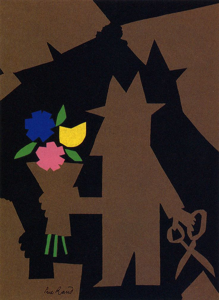 Brown Guy - Paul Rand. Use flowers replace fight,just like after the Paris crisis, the father told his son...