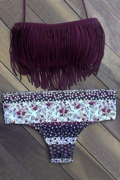 Tassels Spliced Floral Print Bikini Set PURPLE: Bikinis | ZAFUL