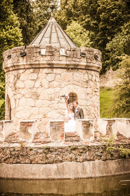 #Wedding #Photo shooting in #Bojnice castle, Slovakia, surroundings. Small rotunda on a pond is one of picturesque points.