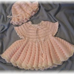 Crochet Pattern for Baby Girl Dress...........KatieBelle Baby Dress, Floppy Hat and Booties