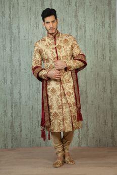 Pure brocade sherwani embellished with zardosi work from #Benzer #Benzerworld #Sherwani #Menswear #weddingdressesformen