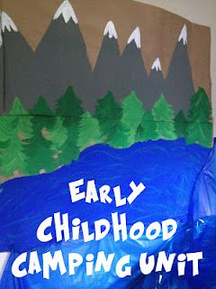 indoor camping theme. How to make your classroom look like an indoor camp ground. Awesome decorating ideas- bring outdoor chairs, build a tissue paper fire, build a letters lake.