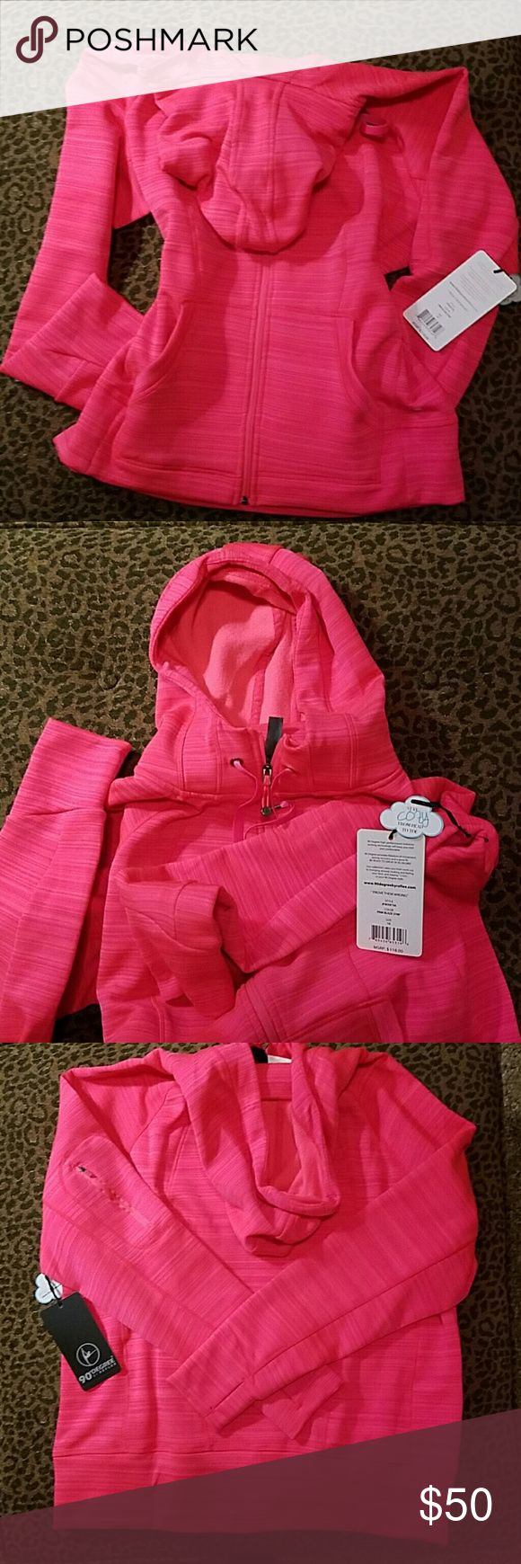 NWT 90 Degree by Reflex Jacket NWT Pink Blaze stripe Stay Cozy Jacket  Adjustable Hoodie  Pockets on the front 1 zippered pockets on the right arm Fleece Lining Polyester and Spandex Thumb pockets on sleeves!:) 90 Degree by Reflex  Jackets & Coats Utility Jackets