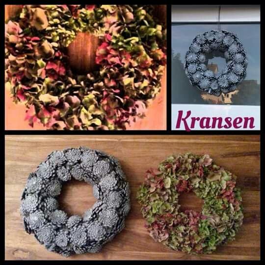Grey Pinecone wreath and Hydrangea wreath