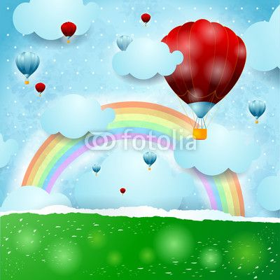 Hot air ballons on fantasy landscape  #vector #stockimage