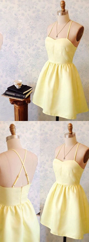 Cute Homecoming Dress,Yellow Homecoming Dress,Mini Homecoming Dress,A Line Dress,Spaghetti Strap Homecoming Dress,Short Party Dress