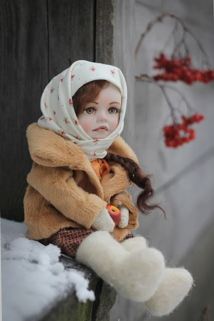 """Handmade collectable doll """"Vasilisa"""". Size: 29 cm. Materials:  paperclay, cotton, wool, wire."""