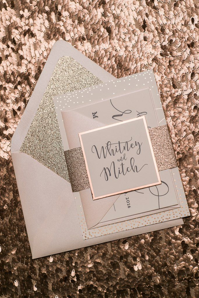 whitney suite styled glitter package invitation fontsglitter wedding invitationsgold - Rose Gold Wedding Invitations