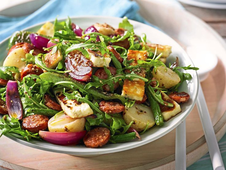 Potato salad gets taken to the next level with crispy fried chorizo and haloumi, dressed in a red wine vinaigrette.