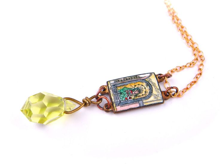 Vintage Antique Czech Glass Necklace Enamel Miniature Virgin Mary Gold Bronze #Unbranded #Floral
