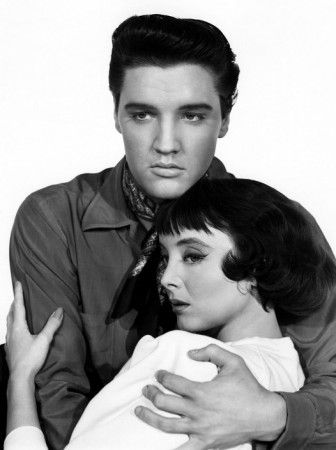 """Carolyn Jones (best known as Morticia Addams from the Addams Family) with Elvis Presley in """"King Creole"""" (1958)"""