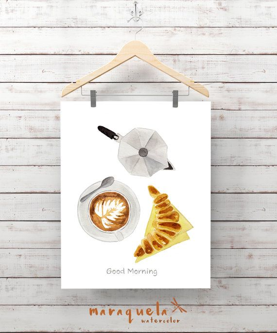 DESAYUNO Ilustracion cafe capuchino crosant cafetera por Maraquela
