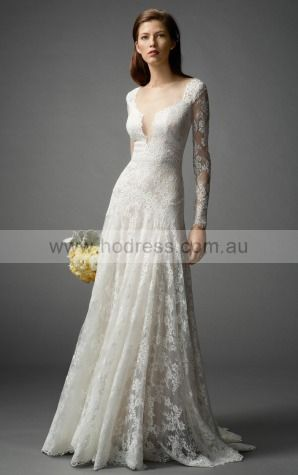 A-line Jewel Empire Long Sleeves Floor-length Wedding Dresses was0129--Hodress