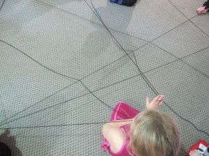 Don't get caught in the spider web!  Game idea for spider day and Halloween party.