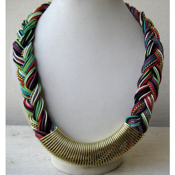 Multi Color Braided Necklace/Bohemian by FootSoles on Etsy, $27.50